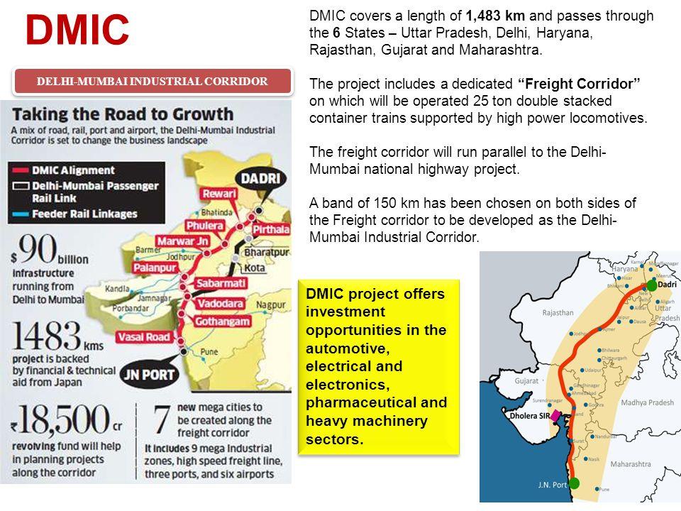 DMIC DELHI-MUMBAI INDUSTRIAL CORRIDOR DMIC covers a length of 1,483 km and passes through the 6 States – Uttar Pradesh, Delhi, Haryana, Rajasthan, Gujarat and Maharashtra.