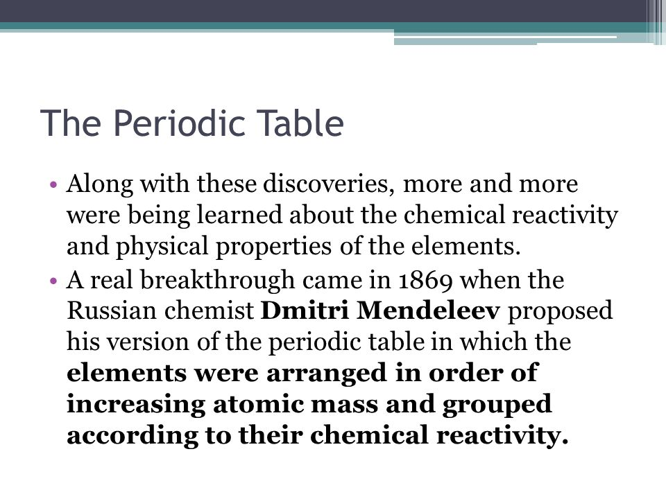 The periodic table the modern periodic table is the result of many the periodic table along with these discoveries more and more were being learned about the urtaz Gallery