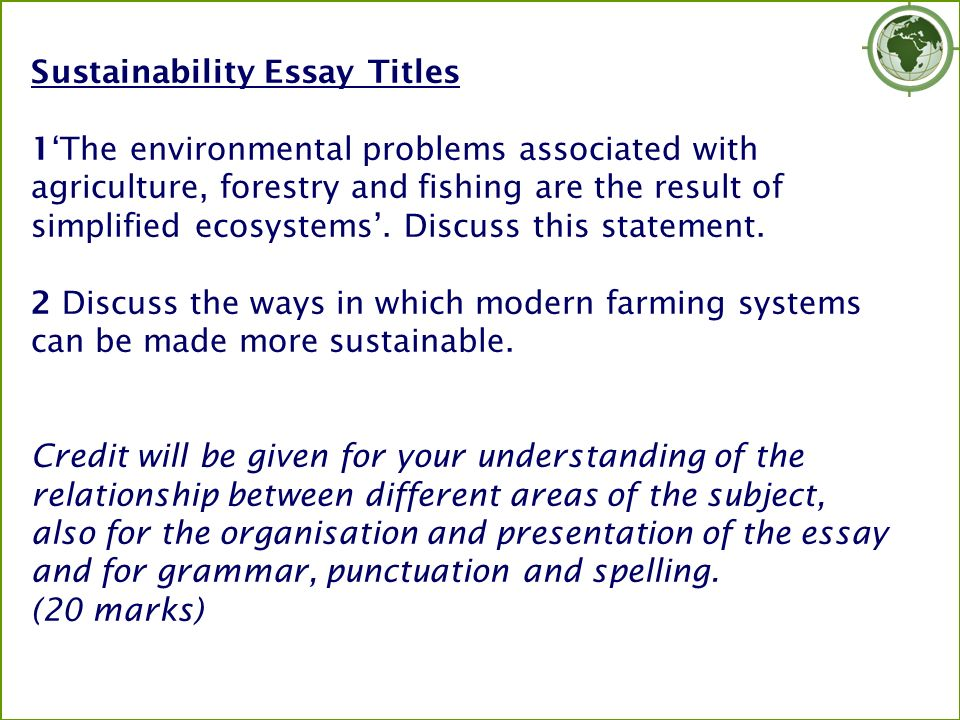 environmental essay questions Environmental justice is the fair treatment and meaningful involvement of all people regardless of race, color, national origin, or income with respect to the development, implementation, and enforcement of environmental laws, regulations, and policies1 in spite of significant improvements of environmental protection by environmental.