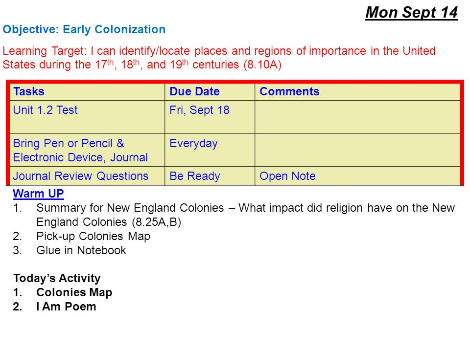 Mon Sept 14 Warm UP 1Summary for New England Colonies  What