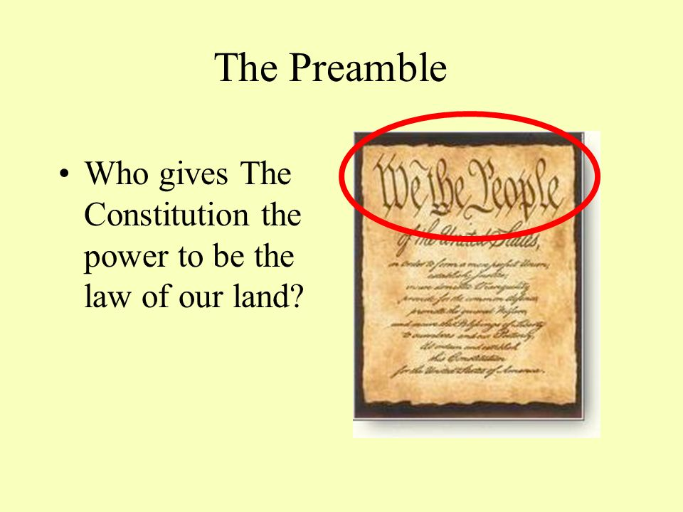 The Preamble Who gives The Constitution the power to be the law of our land