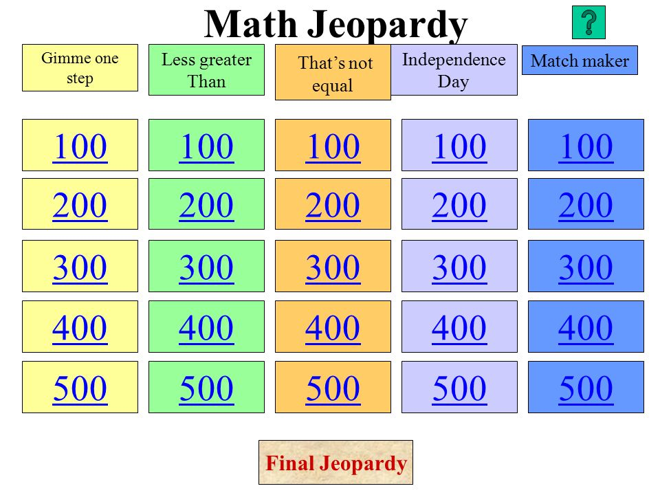 math jeopardy gimme one step less greater than that's. - ppt download, Powerpoint templates