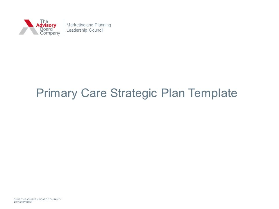 The Advisory Board Company AdvisoryCom Primary Care Strategic