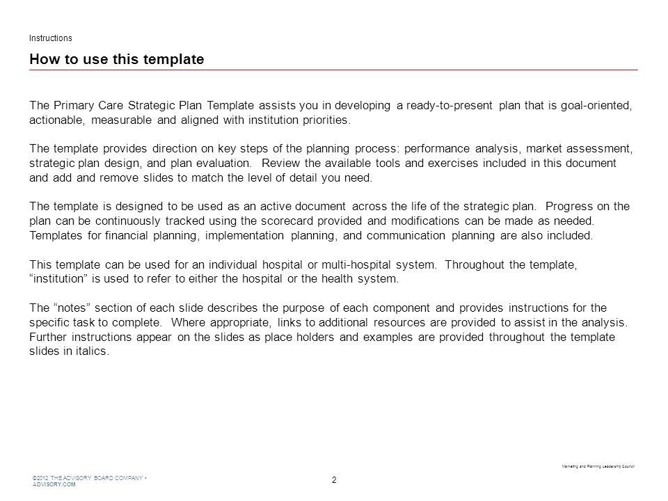 2012 THE ADVISORY BOARD COMPANY ADVISORY.COM Primary Care Strategic ...