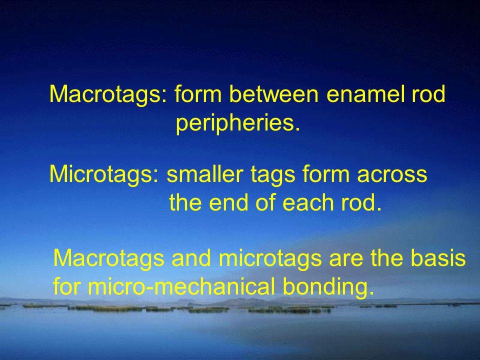 Macrotags: form between enamel rod peripheries.