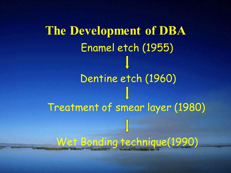 The Development of DBA Enamel etch (1955) Dentine etch (1960) Treatment of smear layer (1980) Wet Bonding technique(1990)