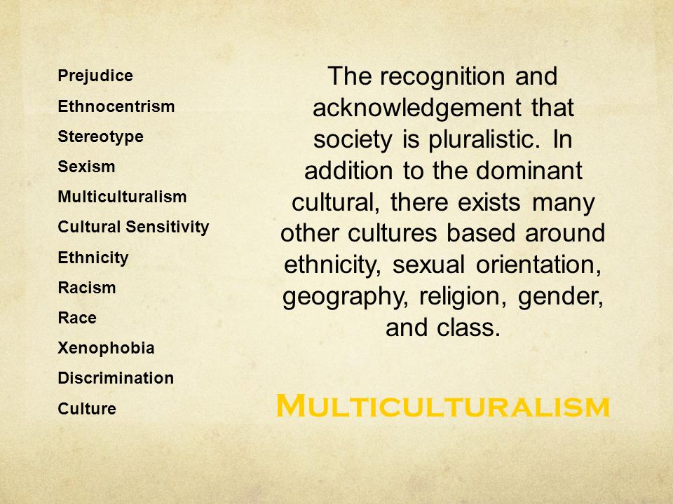 Prejudice Ethnocentrism Stereotype Sexism Multiculturalism Cultural Sensitivity Ethnicity Racism Race Xenophobia Discrimination Culture The recognition and acknowledgement that society is pluralistic.