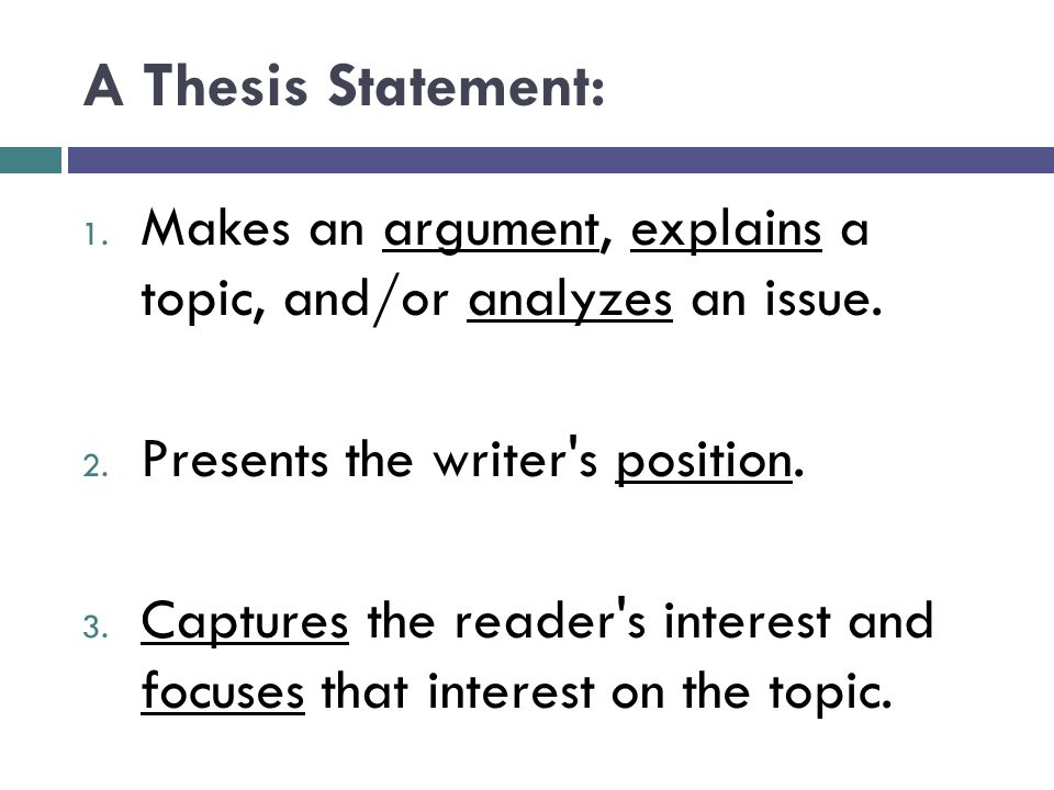 identifying thesis statements analyzing arguments and How to write a thesis statement describes the main focus of your essay a thesis statement is essential o your thesis statement will identify the main.