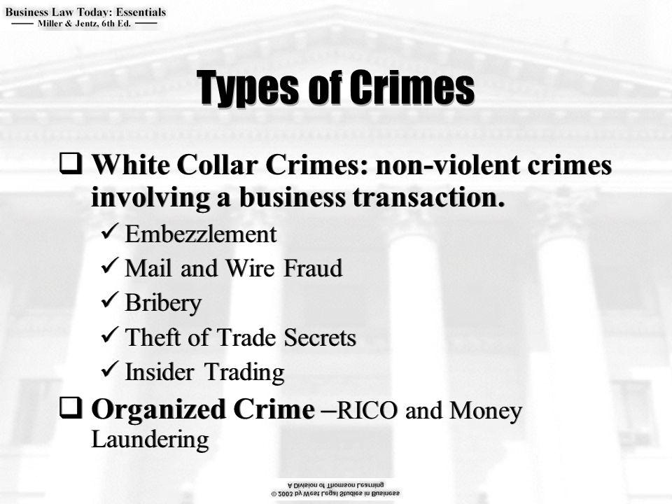 Types of Crimes  White Collar Crimes: non-violent crimes involving a business transaction.