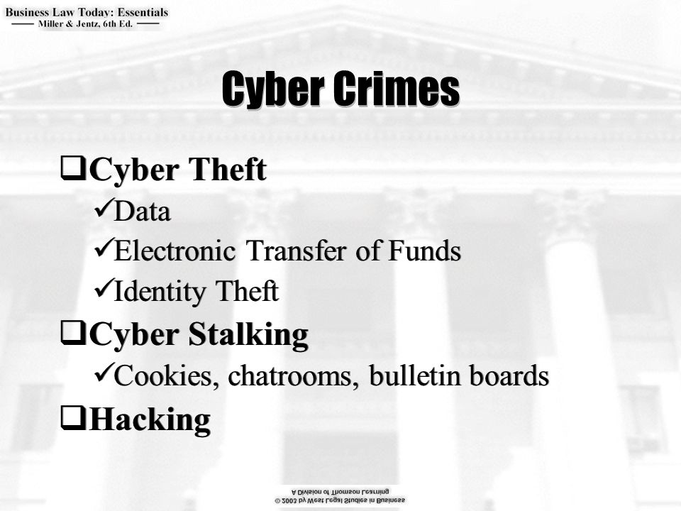 Cyber Crimes  Cyber Theft Data Electronic Transfer of Funds Identity Theft  Cyber Stalking Cookies, chatrooms, bulletin boards  Hacking  Cyber Theft Data Electronic Transfer of Funds Identity Theft  Cyber Stalking Cookies, chatrooms, bulletin boards  Hacking