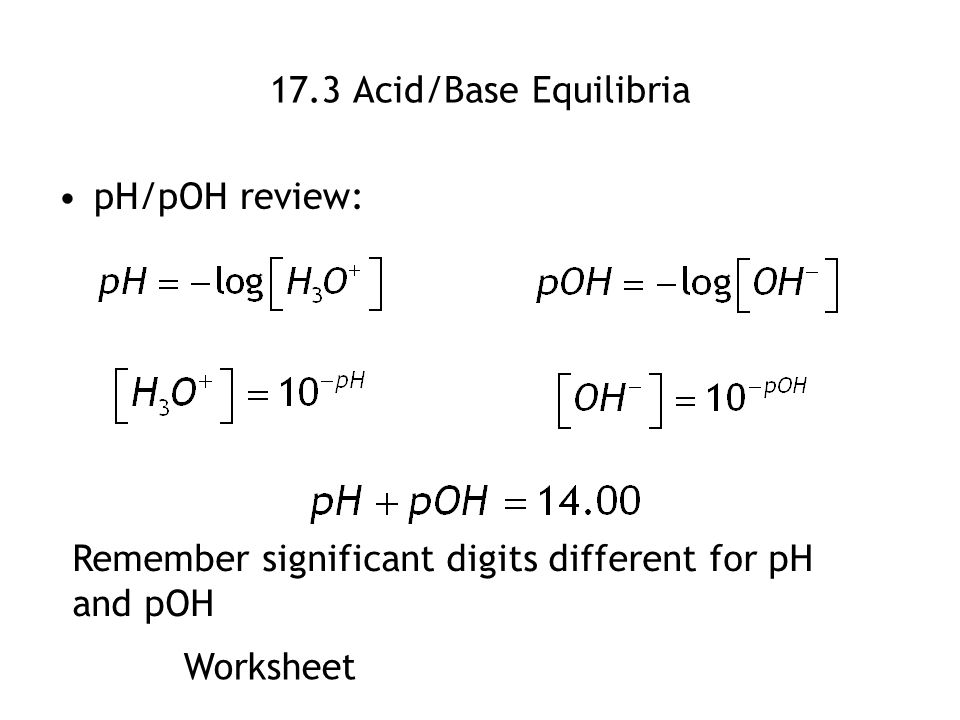 AcidBase Equilibrium Review to this point Chemical Equilibrium – Ph Poh Worksheet