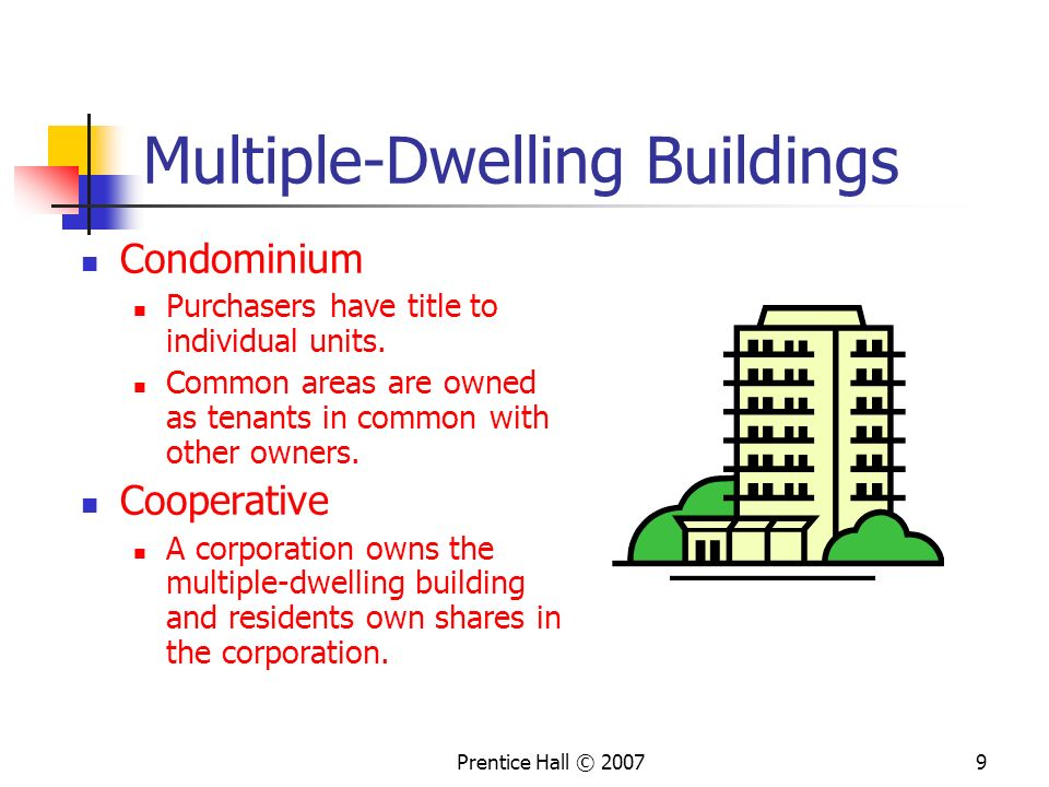 Prentice Hall © 20079 Multiple-Dwelling Buildings Condominium Purchasers have title to individual units.