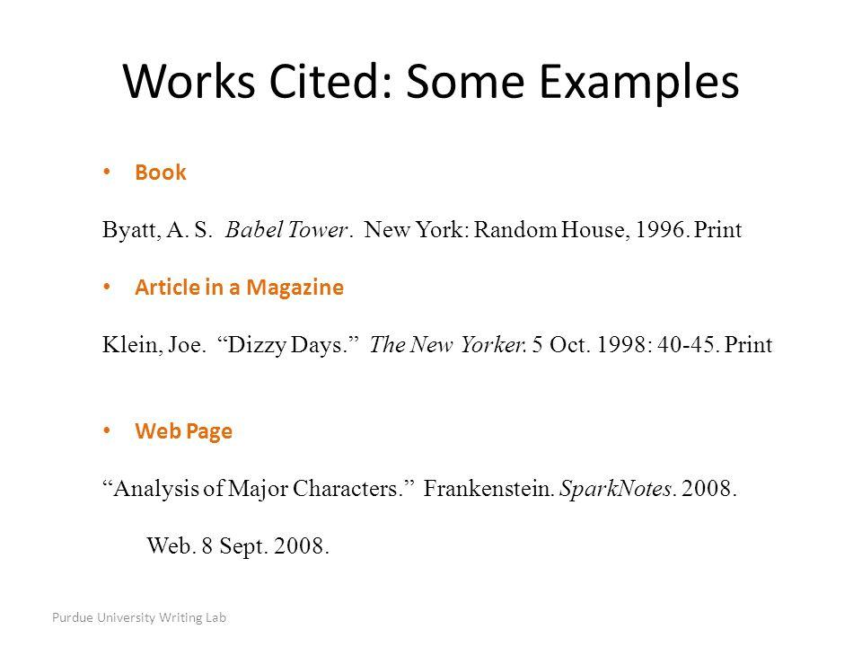 Purdue university writing lab most citations should contain the purdue university writing lab book byatt a s babel tower ccuart Images