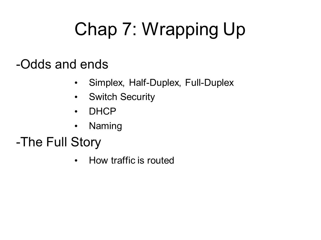 Group project sept 23 page 322 review questions explain your 2 chap 7 wrapping up odds and ends simplex half duplex full duplex switch security dhcp naming the full story how traffic is routed aljukfo Gallery
