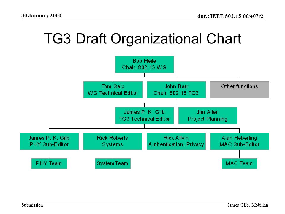 doc.: IEEE /407r2 Submission 30 January 2000 James Gilb, Mobilian TG3 Draft Organizational Chart