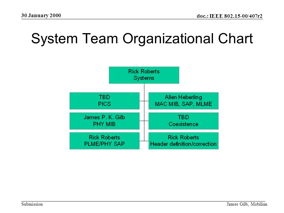 doc.: IEEE /407r2 Submission 30 January 2000 James Gilb, Mobilian System Team Organizational Chart