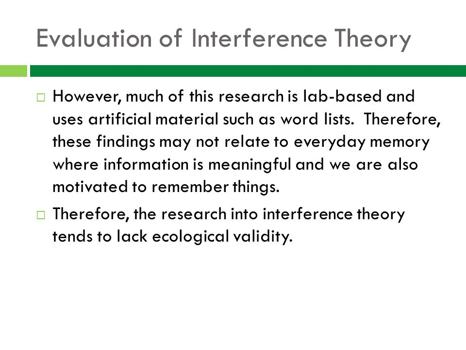 MEMORY Explanations for Forgetting  Interference     An explanation     SlidePlayer