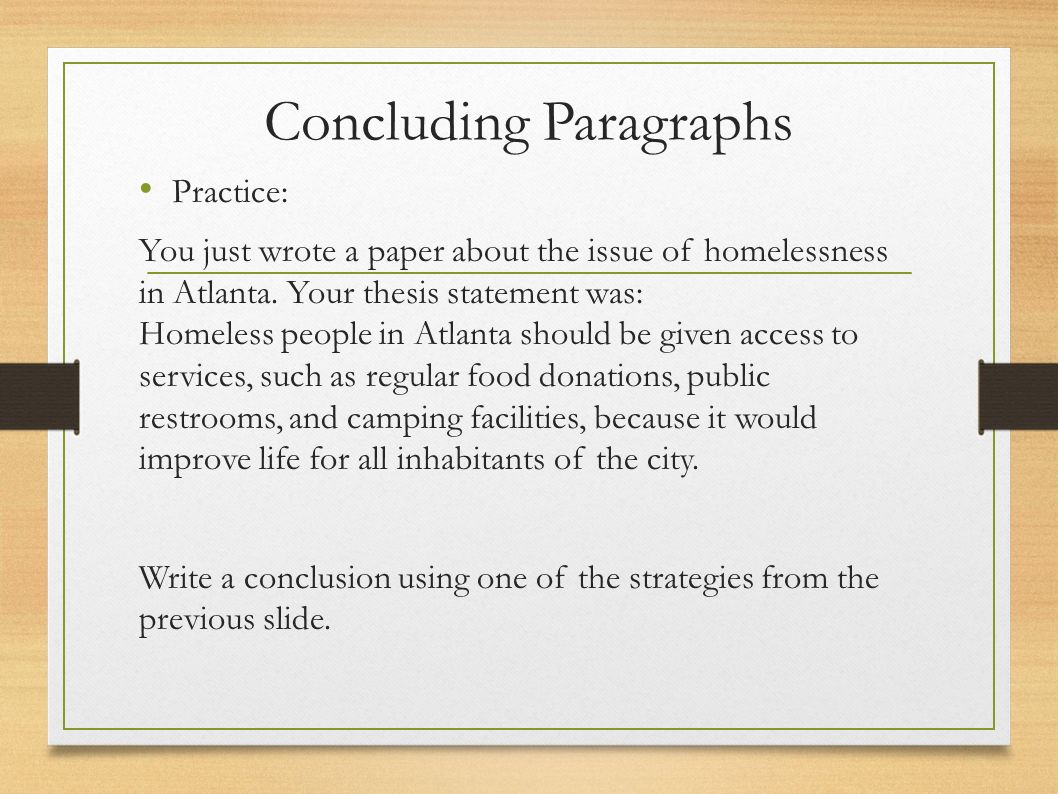 thesis statements about homelessness Thesis statements e-7 revised summer 2012 1 the thesis is the backbone of the paper it homelessness if you use that thesis statement.