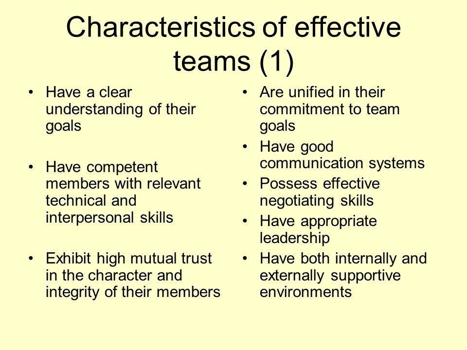 Characteristics of effective teams (1) Have a clear understanding of their goals Have competent members with relevant technical and interpersonal skil