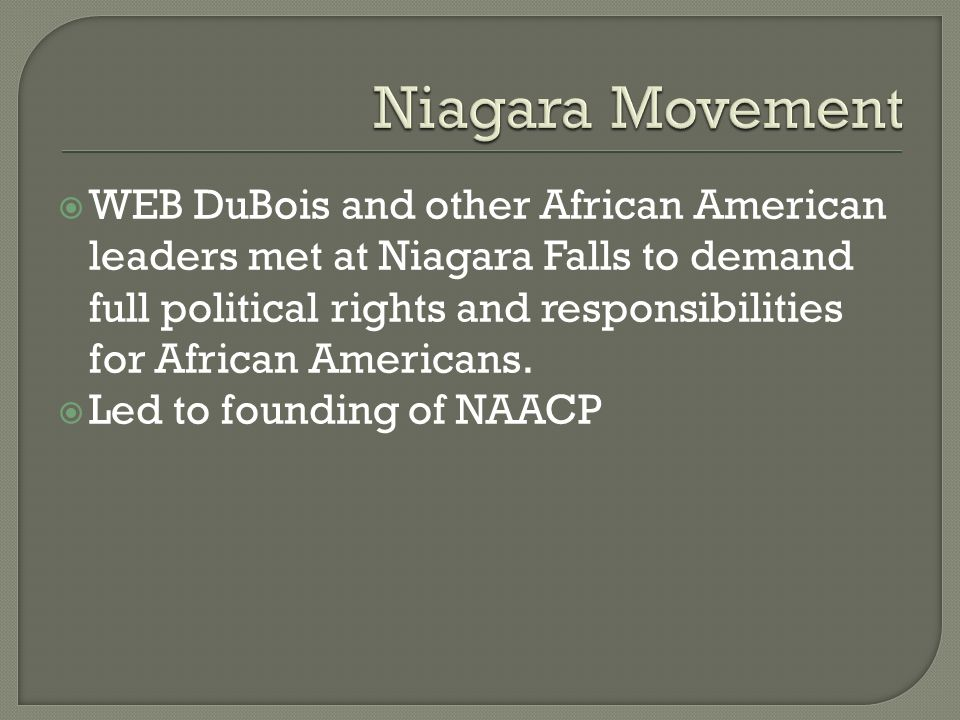  WEB DuBois and other African American leaders met at Niagara Falls to demand full political rights and responsibilities for African Americans.