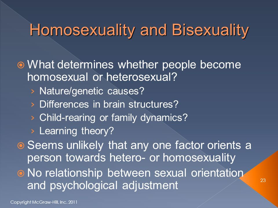  What determines whether people become homosexual or heterosexual.