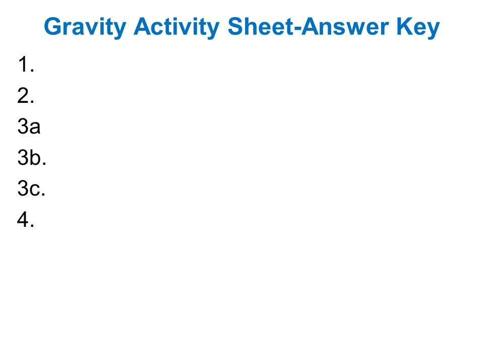 Gravity worksheet answers
