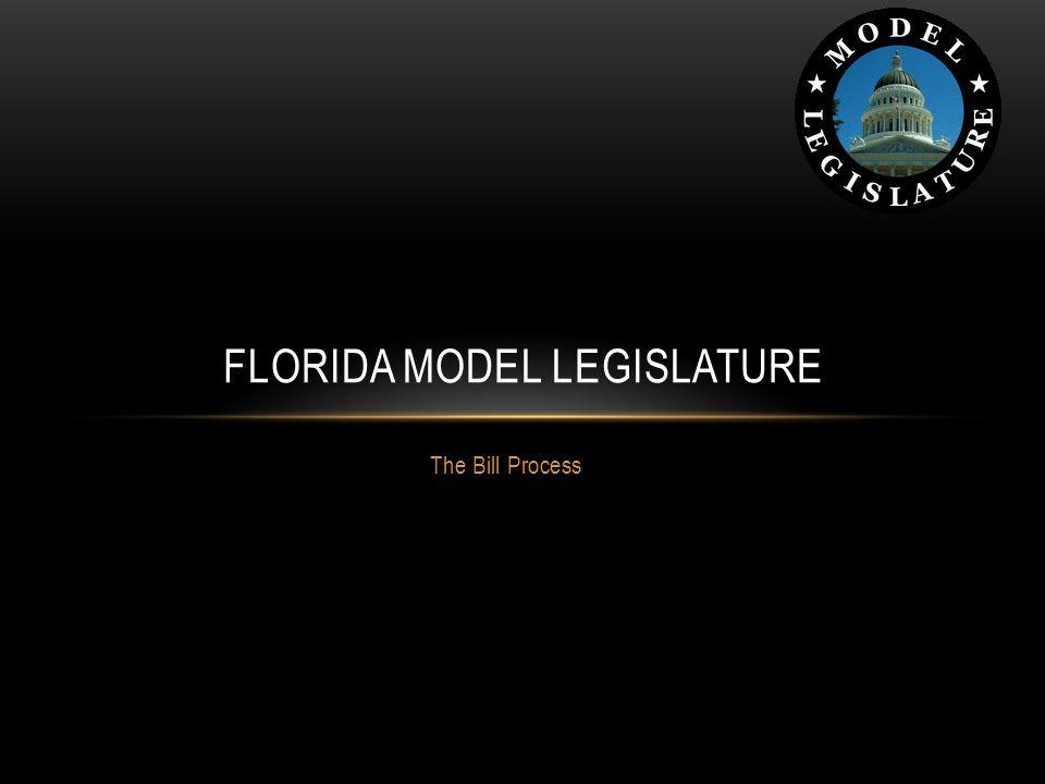 The Bill Process FLORIDA MODEL LEGISLATURE
