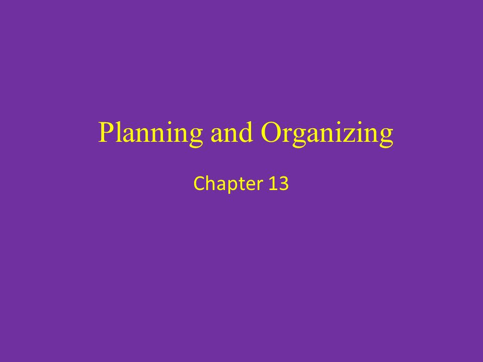 Planning and Organizing Chapter 13