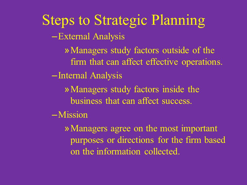 Steps to Strategic Planning – External Analysis » Managers study factors outside of the firm that can affect effective operations.