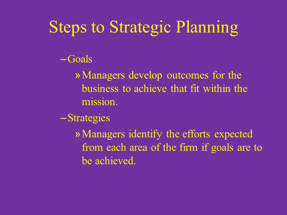 Steps to Strategic Planning – Goals » Managers develop outcomes for the business to achieve that fit within the mission. – Strategies » Managers ident