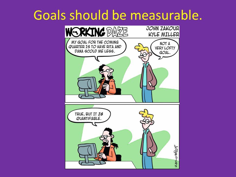 Goals should be measurable.