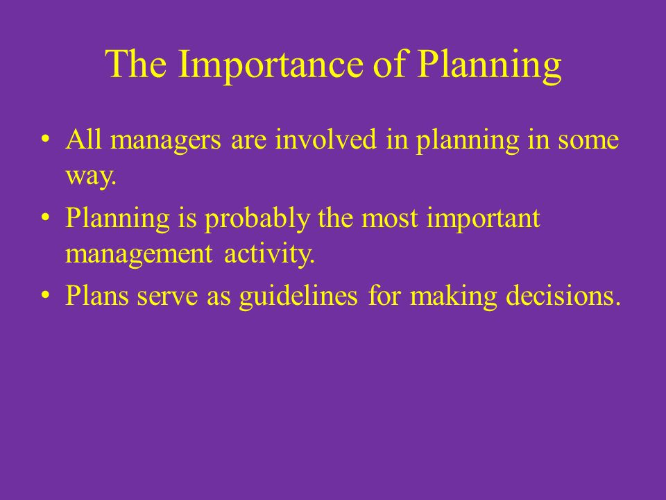 The Importance of Planning All managers are involved in planning in some way. Planning is probably the most important management activity. Plans serve
