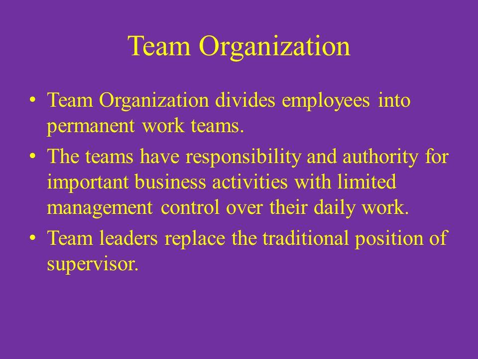 Team Organization Team Organization divides employees into permanent work teams.