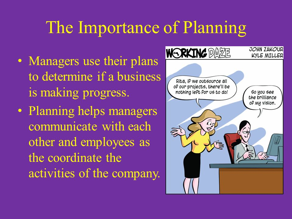 The Importance of Planning Managers use their plans to determine if a business is making progress.