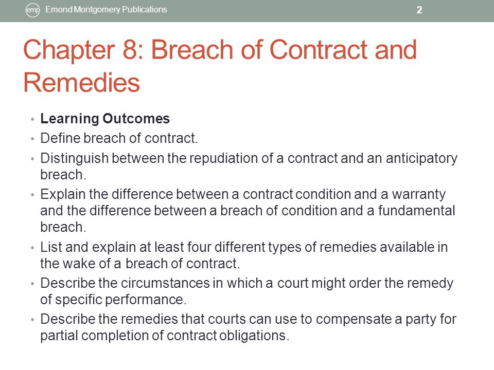 Chapter  Breach Of Contract And Remedies Emond Montgomery
