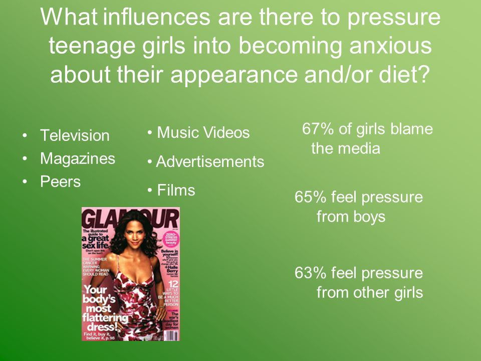 What influences are there to pressure teenage girls into becoming anxious about their appearance and/or diet.