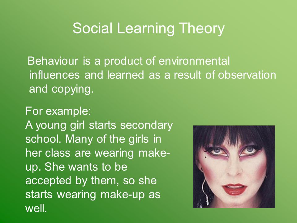 Social Learning Theory Behaviour is a product of environmental influences and learned as a result of observation and copying.