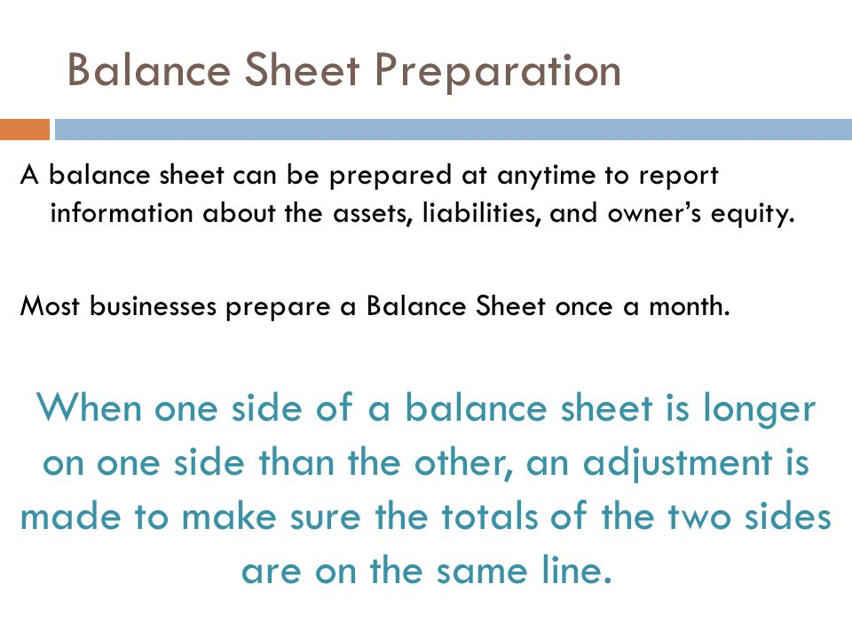 REPORTING A CHANGED ACCOUNTING EQUATION ON A BALANCE SHEET ppt – Prepare a Balance Sheet
