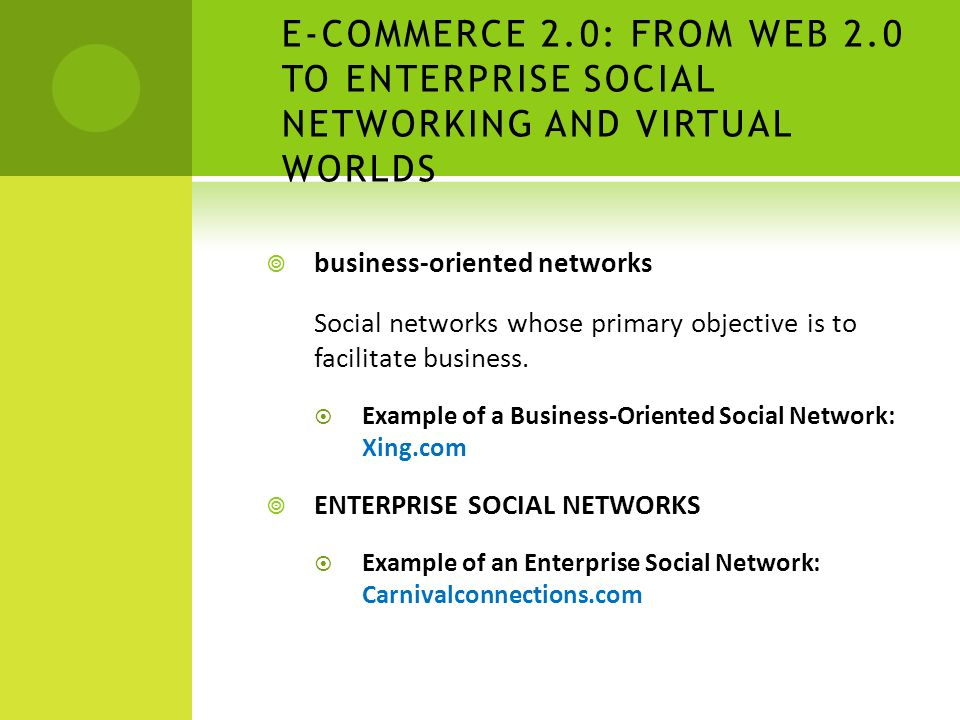  business-oriented networks Social networks whose primary objective is to facilitate business.