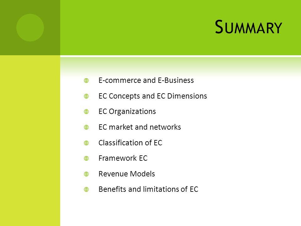 S UMMARY  E-commerce and E-Business  EC Concepts and EC Dimensions  EC Organizations  EC market and networks  Classification of EC  Framework EC  Revenue Models  Benefits and limitations of EC