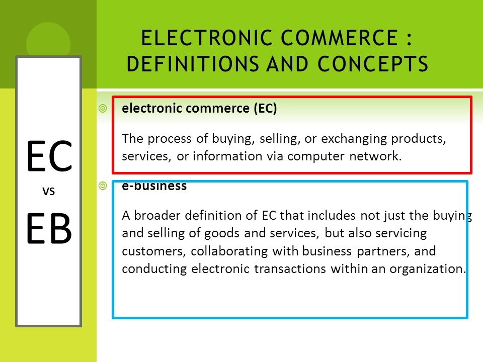 ELECTRONIC COMMERCE : DEFINITIONS AND CONCEPTS  electronic commerce (EC) The process of buying, selling, or exchanging products, services, or informa