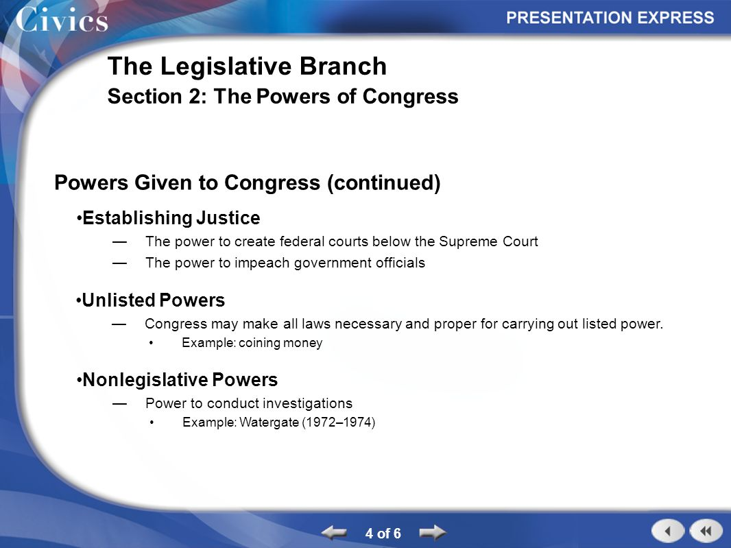 Section Outline 1 Of 6 The Legislative Branch Section 2 The Powers