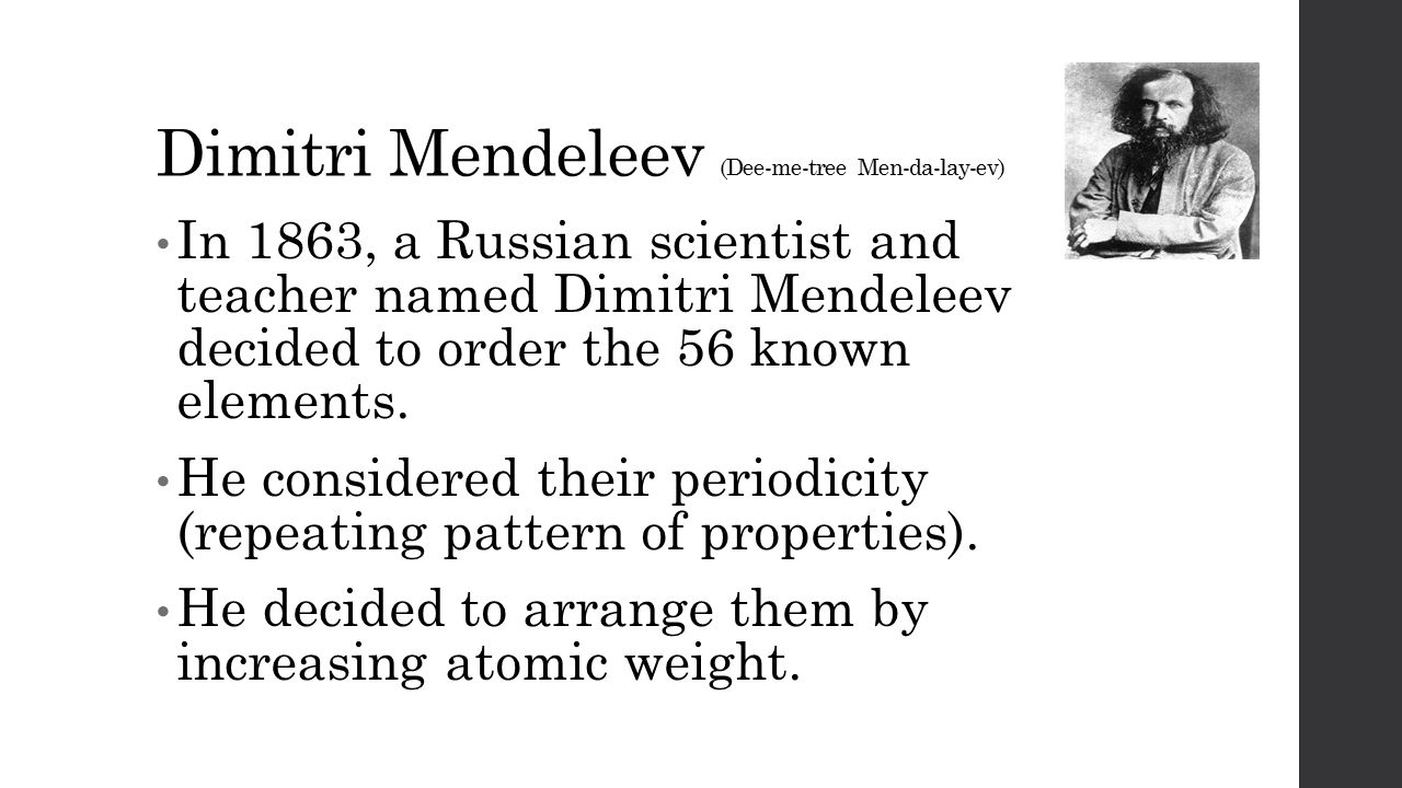 The periodic table from 56 to 118 in only 150 years ppt download 5 dimitri mendeleev gamestrikefo Choice Image