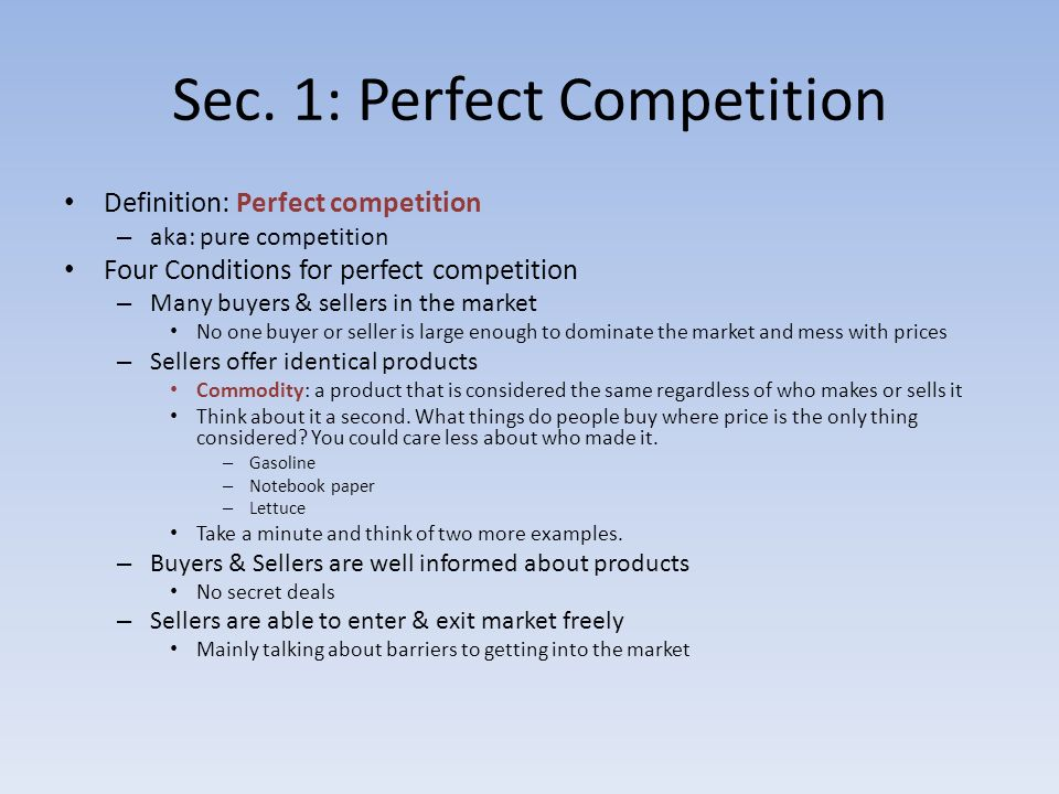 Perfect Competition Definition Data Set