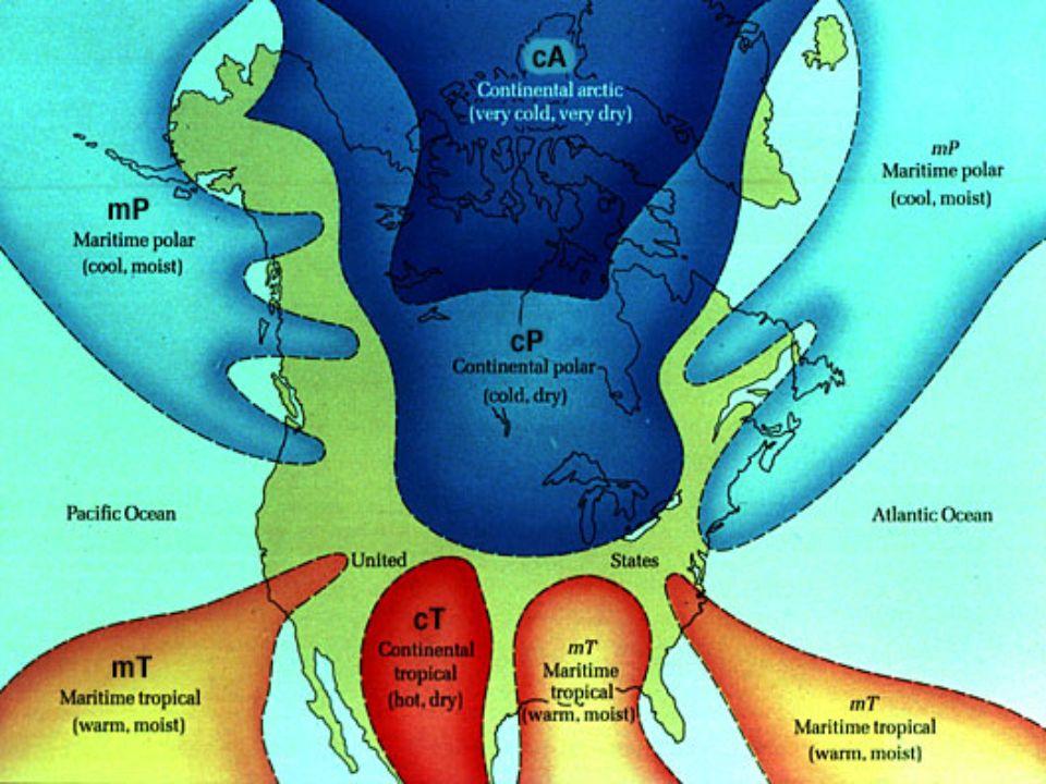 Types Of Air Masses Maritime Tropical MTMaritime Polar MP - Air masses map of us hot dry cool moist