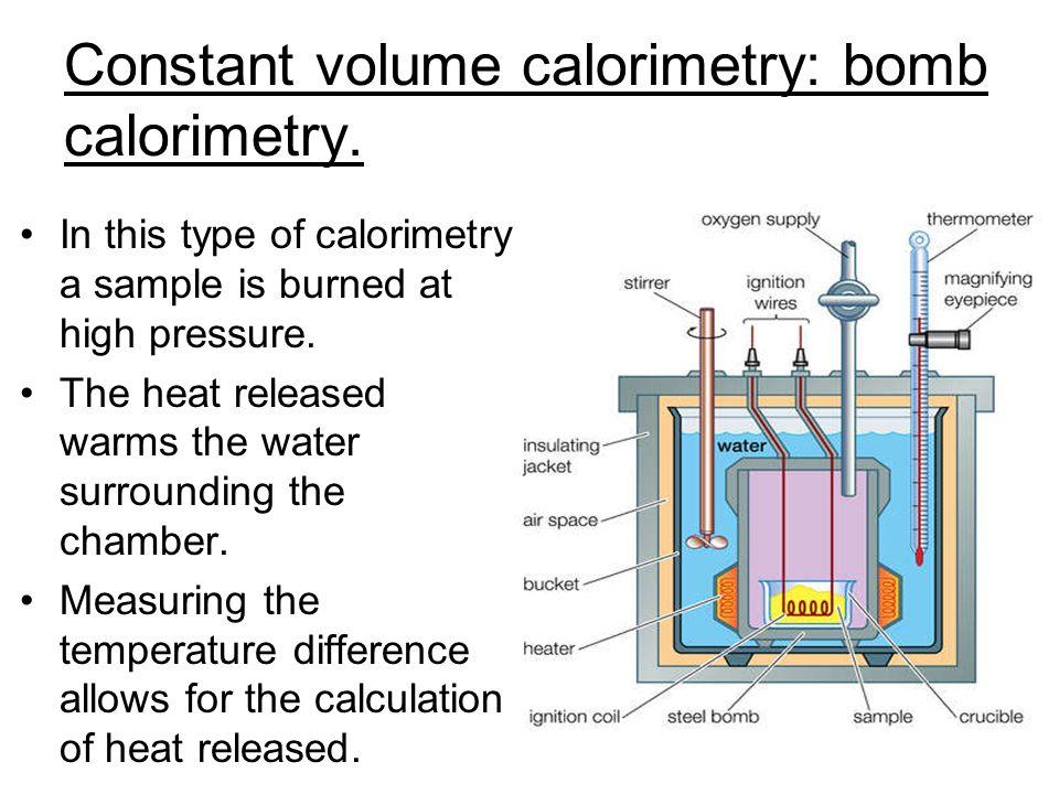 Constant volume calorimetry: bomb calorimetry.