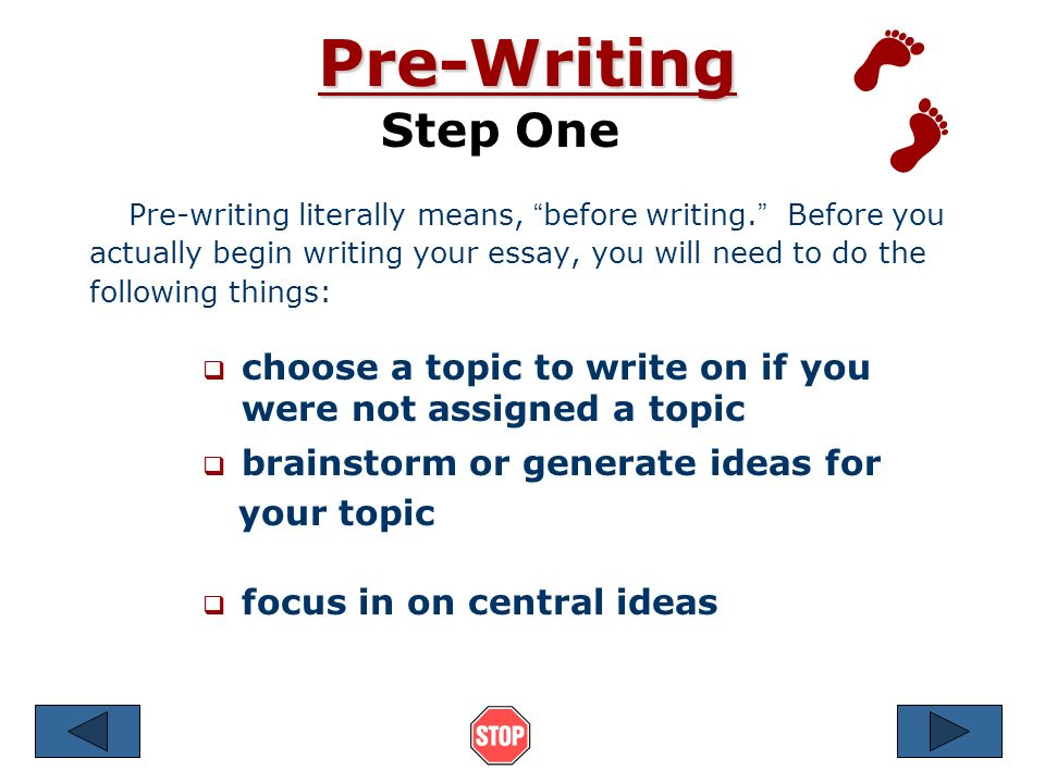 steps before writing essay If you have never written an essay before, or if you struggle with writing and want to improve your skills, it is a good idea to go through several steps in the essay writing process for example, to write an essay, you should generally.