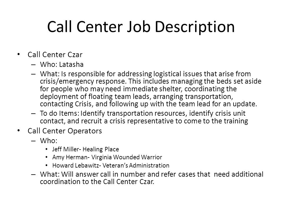 1K Homes Rva- Call Center Protocol. Staging Site Coordinator For