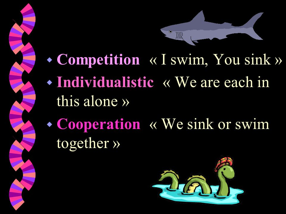 w Competition « I swim, You sink » w Individualistic « We are each in this alone » w Cooperation « We sink or swim together »