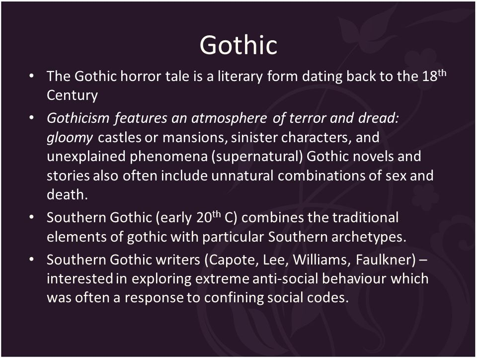 gothicism in rose for emily Read this essay on gothic elements used in a rose for emily come browse our large digital warehouse of free sample essays get the knowledge you need in order to pass your classes and more only at termpaperwarehousecom.